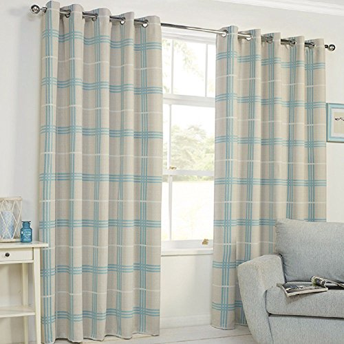 "Price comparison product image Denver Check Stripe Thermal Blackout Ring Top Curtains - Duck Egg Blue Natural (90"" Wide x 72"" Drop)"