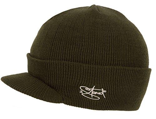 2Stoned Mütze mit Schirm Visor Beanie Cap Deluxe, One-Size Damen und Herren, Olive -