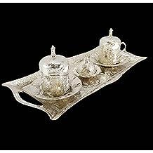 Ottoman Style 2 X Turkish Silver Brass Tea Coffee Cups + Tray + Sugar Pot
