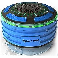 Radios de Douche - Hydro-Beat Illumination. Haut-parleur IPX7 portable entièrement étanche à l'eau avec radio FM intégrée et lumières d'ambiance LED. Rechargeable à l'aide de micro USB. (Bleu et Noir)