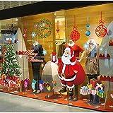 Tuopuda Natale Vetrofanie Sticker Natale Decorativi Natale Babbo Natale Finestra Adesivi Decorativi da Finestra Murali da Parete Addobbi Adesivi Decorazione Vetrina Wallpaper