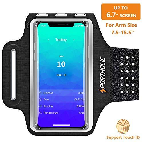 Handy Schweißfest Sportarmband für iPhone X XR XS Max, 8/7 Plus, Samsung S10 S9 S8 S7 +Edge,Note 9/8/7,Huawei P30 P20 pro,Xiaomi,LG- Premium Lycra, Mit Kabelfach/Kartenhalter.