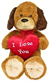 Wagner 9039 - XXL Plüschhund mit Herz - 100 cm groß - braun - Hund Plüschbär Teddy Bär Teddybär