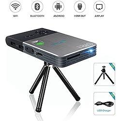 OTHA Mini Proyector Portátil DLP LED Video Inalámbrico 1080p HD (WIfi, Bluetooth 4.0, Batería Recargable Incorporada del Litio, con Trípode, Salida HDMI / USB / Micro SD/ audio 3,5mm) Home Cinema, Color Negro