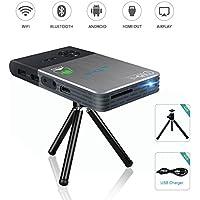 OTHA Mini Proyector Portátil, Pico DLP LED 1080P Full HD Video Proyectores Teatro Casero, Con Autocorrecion Trapezoidal, Wifi y Bluetooth Conectividad, Batería 5000mAh Recargable Incorporada (8G)