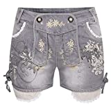 Krüger-Dirndl Damen Trachten-Mode Kurze Jeans-Lederhose Bea in Anthrazit Traditionell, Größe:32, Farbe:Anthrazit