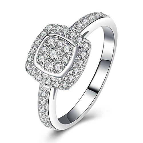 Aienid Schmuck Silberring Gravur Versprechen Anpassbare Ringe Kissen Cut CZ Ring Silber 925 Damen