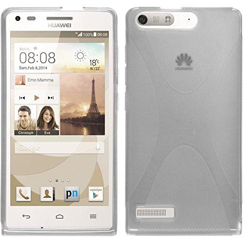 PhoneNatic Case kompatibel mit Huawei Ascend P7 Mini - Clear Silikon Hülle X-Style + 2 Schutzfolien