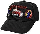 Feuerwehr-Basecap mit aufwendiger Einstickung - Feuerwehrmann Löschzug Feuerwehrauto - 68176 schwarz - Baumwollcap Baseballcap Schirmmütze Hut