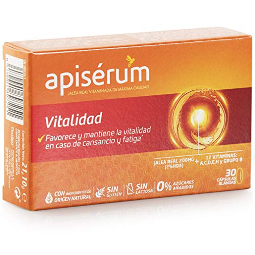 Apisérum Vitalidad Cápsulas - Favorece y mantiene la vitalidad en caso de cansancio y fatiga - Multivitamínico con Jalea Real y Vitaminas A,C,D,E,H y grupo B - Tratamiento para 1 mes