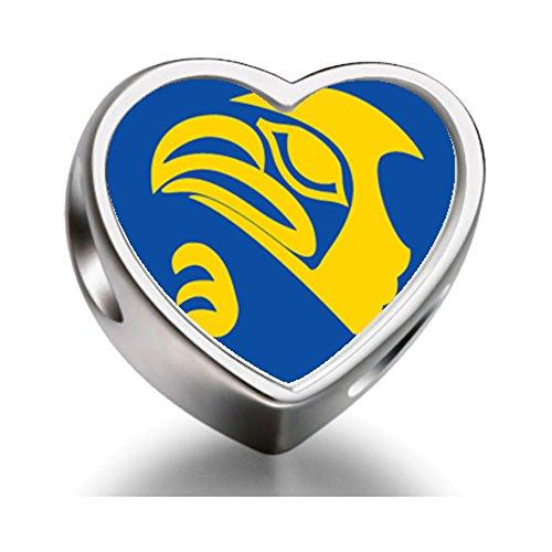 Rarelove Sterling Silver Eagle Face Heart Photo Charm (Mens Sterling Silver Eagle)