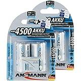 ANSMANN Piles Réchargeables C Baby (HR14/LR14) 4500mAh maxE ready2use NiMH Professional Pré-Chargé Power Accu - Pack de 4