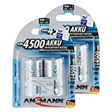ANSMANN maxE Baby C Akku 4500mAh  vorgeladene ready2use NiMH Power Akkubatterie Babyzelle mit geringer Selbstentladung