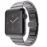 VAPIAO Apple Watch 42 mm Butterfly Edelstahl Stainless Steel Armband für Series 1/2 / 3 Basic/Sport / Edition in Anthrazit Schwarz