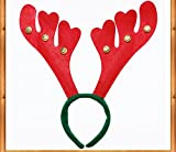 PartyHut Fancy Women Children Christmas Party Christmas Reindeer Antlers Headbands With Bells New good quality- Pack of 1
