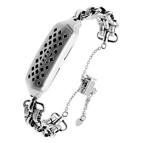 TRUMiRR Für Fitbit Flex 2 Armband, Schmuck Armband Bling Edelstahl Handschlaufe Frauen Manschette Uhrenarmband für Fitbit Flex 2 (Drücken Juwel)