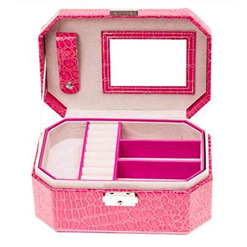 ZXKS Boîte à Bijoux en Cuir PU Octogonale Portable De Stockage De Bijoux Finition Paquet De Mariage Voyage Cadeaux,Pink