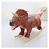 TGETBTTSR Rocking Horse Dinosaurs Rocking Horse Toy, Stuffed Animal Rocker Toy, Kid Wooden Rocker, Ride on Toy for 3-14 Year Old, Rocking Animal Child/Large Toddler Toy - Birthday Gift Rocking Chair