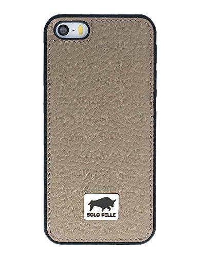 """Solo Pelle Iphone SE / 5 / 5S Case Lederhülle Ledertasche Backcover """" Flex """" aus echtem Leder (Floater Taupe) inkl. hochwertiger Geschenkverpackung Floater Taupe"""