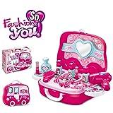 YAKOK Rosa Schminkkoffer Gefüllt Mädchen, Schminkset Mädchen Spielzeug, Kosmetikkoffer Kinder Mädchen, Rollenspiel Spielzeug für Klein Kinder ab 2-6 Jahre