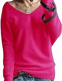ShallGood Femme Automne Hiver Tops À Manches Longues Col V Profond Casual  Élégant Sexy Pulls En Tricot Chandail… e5a905074987