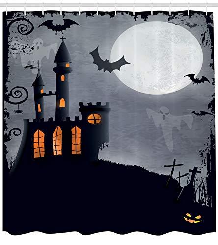 ABAKUHAUS Vintage Halloween Duschvorhang, Scary Fledermäuse Geister, mit 12 Ringe Set Wasserdicht Stielvoll Modern Farbfest und Schimmel Resistent, 175x200 cm, Schwarz Grau
