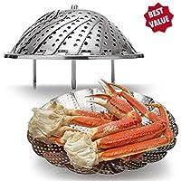 """18/8 Acero inoxidable Vegetal Vaporizador Comida Vaporizador de alimentos (incluye mango de extensión), Pescado y mariscos plegable Plegable Olla de presión cesta de inserción para olla instantánea (5.5 """"se expande a 9.3""""), Presión de la cocina 5/6 QT y 8 QT, Plegable vapor de inserción para Cocina vegetariana de pescados y mariscos, ampliable para adaptarse a ollas de varios tamaños"""