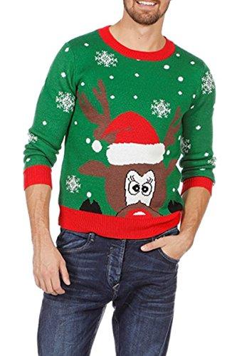 Wilbers Weihnachtspullover Rentier Ugly Christmas Sweater Pulli Grün Weihnachten S-XXL