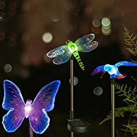 Hardoll Solar Garden Lights Decorate your garden with this solar light set. The set comes with a dragonfly, butterfly, and hummingbird shaped stake light with color changing LEDs. Built-in Solar Panel automatically recharges during the day and Light ...