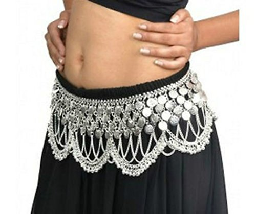 Schöne HEAVY Silber oder Gold getönten Metall Tribal Jingly Bauchtanz Tanz Kostüm Hip Münze Gürtel (Uk Kostüme Stammes Bauchtanz)
