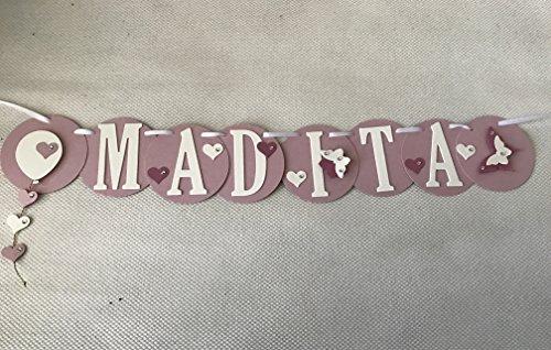 Madita Namenskette, Girlande aus Fotokarton mit 6 Buchstaben, Handgefertigt!, Taufgeschenk, Geschenk zur Geburt, Türkette, Türschild..