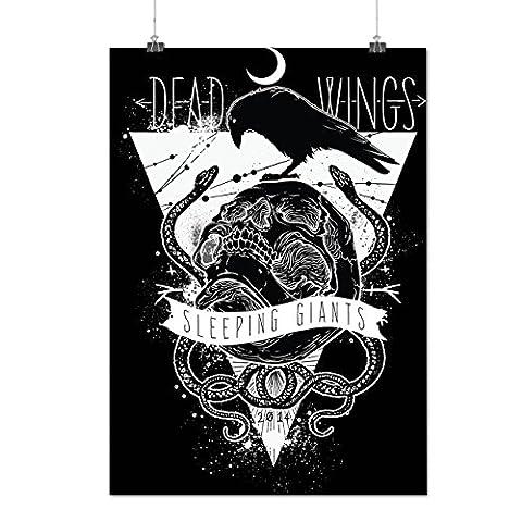 Mort Ailes corbeau Crâne En train de dormir Géant Matte/Glacé Affiche A0 (119cm x 84cm) | Wellcoda