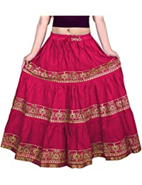 VOXVIDHAM Skirt Women's Cotton Fancy Flower Border Design Block Print (Goldish) Skirts with Elastic & Knote in Free Size