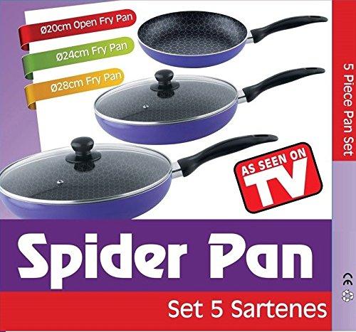 SET 3 SARTENES SPIDER PAN ANTIADHERENTES APTA TODAS COCINAS CALIDAD 3 SARTENES 2 TAPAS