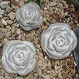 3 er Set Stein Rose Rosenblüte Blüte Blumen Steinguss frostfest Wetterfest Garten Deko 11cm