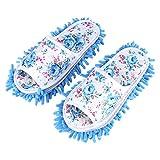 Fdit Waschbare Mopp Hausschuhe Abnehmbare Mikrofaser Haus Hausschuhe Staub Dirt Haar Reiniger Multi Funktion Boden Reinigung Schuhe Abdeckung(Blau)
