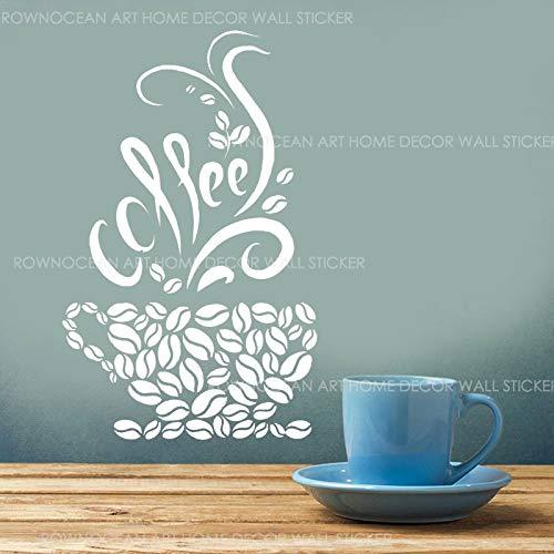 WWYJN Coffee Beans Cups Cafe Kitchen Pub Restaurant Vinyl Wall Sticker Art Decor Creative Design Decal Mural Wallpaper45x67cm