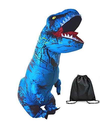 Halloween erwachsene aufblasbare T Rex Dinosaurier-Partei-Kostüm Lustige Kleid Blau mit Rucksack und USB-Kabel