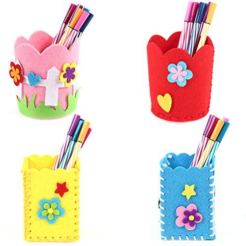 Toyvian 4 STÜCKE Hand Stitch Sewing Kit für Kinder DIY Filzstifte Halter Bleistift Container Stationery Organizer mit Sicherheitsnadel Gewinde für Anfänger Kinder Kinder