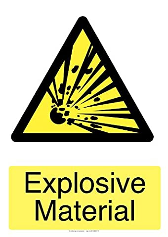 explosive material laminated safety sticker 150mm x 100mm by indigo