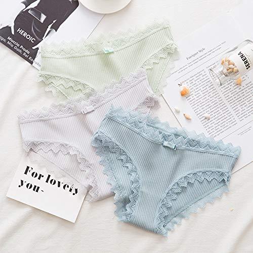 Haodou String mit Spitze Damen Unterhose Baumwolle Unterwäsche Reizvolle Wäsche durchsichtige Tanga G-Schnur Schlüpfer Damenwäsche Dessous Länge 21cm (hellgrün) - 4