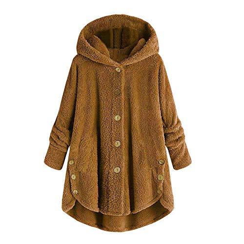 BABYS'q Damen Wintermantel mit Kapuze und Knöpfen, aus Plüsch, weich, Lange Ärmel, warme Jacke, Obermantel (S-5XL), gelb, XX-Large - Lange Ärmel-duster