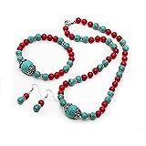 Elegant TreasureBay turquesa y rojo Coral de cuentas collar,...
