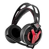 HWJF PS4 Headset Stereo Kopfhörer Bass Surround Sound mit Sound und Mikrofon Lautstärkeregler PC Gaming Headset (Rot)