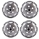 #7: Autofy16 8 Spokes Snap-On Universal Wheel Cap Wheel Cover Hub Cap with Lug Nut Holes (Set of 4, Grey)