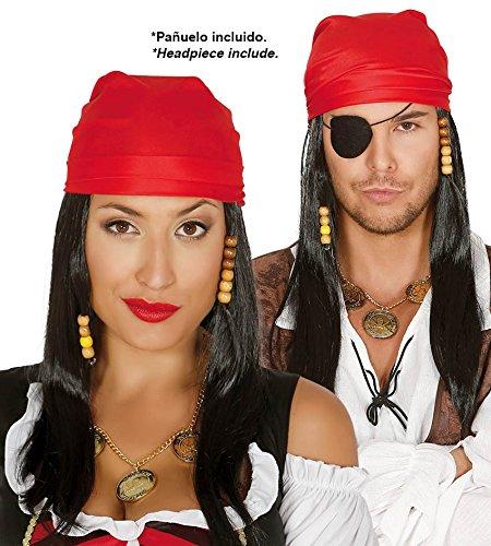 80 - Piraten-Perücke mit Schal (Box Container) (Halloween-kostüme Mit Schwarzen Perücken)