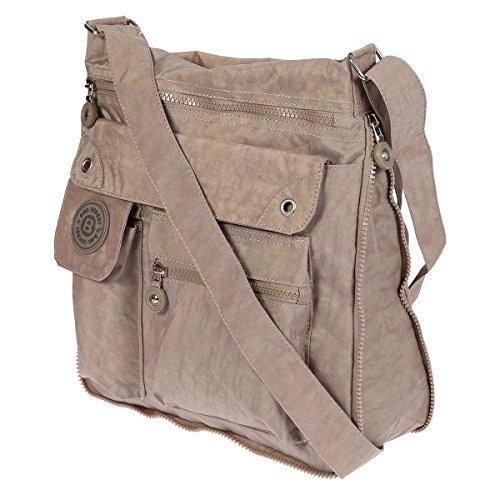 Hochwertige Umhängetasche Schultertasche Tasche aus Crinkle Nylon Beige (Nylon Handtasche Crinkle)