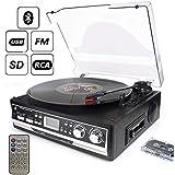 D & L 7-in-1-Plattenspieler mit Fernbedienung, Bluetooth, UKW-Radio und Kassettenspieler, 3-Geschwindigkeit 33/45/78 Vinyl-Player, USB, SD-Player und Encoding, mit integriertem Stereo-Lautsprecher