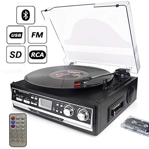 D & L 7-in-1 Bluetooth Giradischi con Telecomando, Radio FM e Lettore Cassette, 3-Velocità 33/45/78, USB e SD Codifica Vinile Lettore di Registrazione, con Altoparlante Stereo Personalizzato