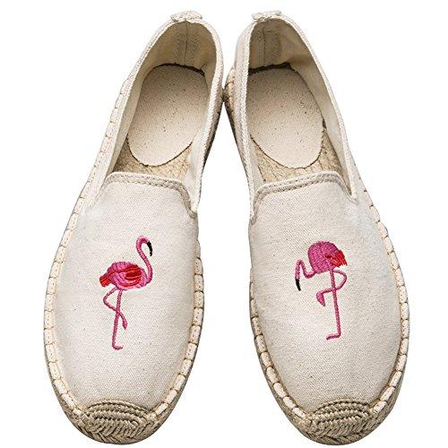 Insun Unisex Erwachsene Espadrilles Handgemachte Gestickter Tuch Schuhe Flat Freizeitschuhe Beige Flamingos 37 EU